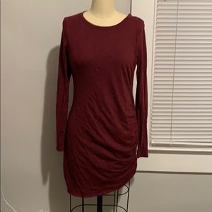Side ruched long sleeve dress